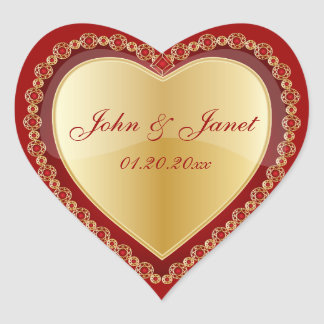 Elegant Love Shiny Red Gold Jewel Heart Heart Sticker