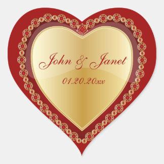 Elegant Love Shiny Red Gold Jewel Heart Heart Stickers