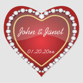 Elegant Love Shiny Red Heart Stickers