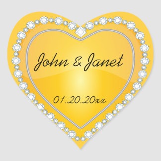 Elegant Love Shiny Yellow Heart Stickers