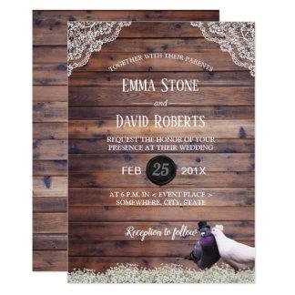 Elegant Lovebirds & Baby's Breath Laced Wedding Card