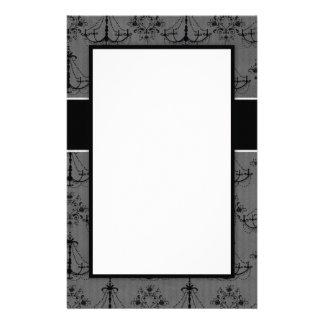 elegant lovely black chandelier damask pattern custom stationery