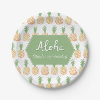 Elegant Luau Pineapple Birthday Party Supplies Paper Plate