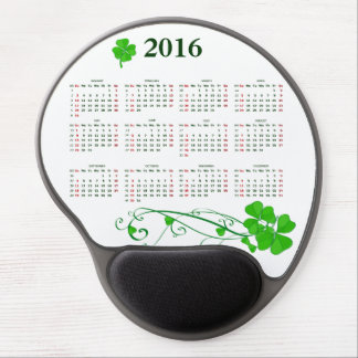 Elegant Lucky Shamrock Calendar 2016 Gel Mouse Pad