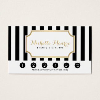 Elegant Luxe Bold Black and White Stripes Loyalty Business Card