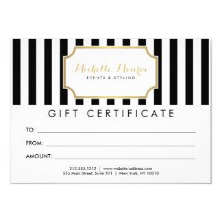 Elegant Luxe Bold Stripes Gift Certificate 11 Cm X 16 Cm Invitation Card