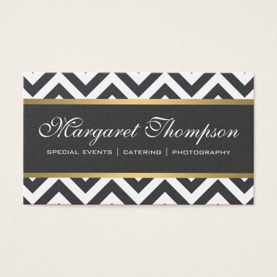 Elegant Luxe Chevron Pattern Gold Trim Business Card