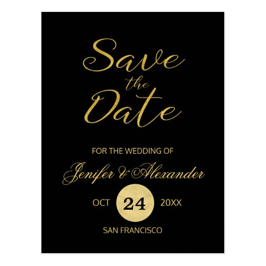 Elegant luxury black gold wedding save date script
