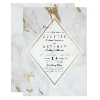 Elegant luxury faux gold gray white marble Wedding Card