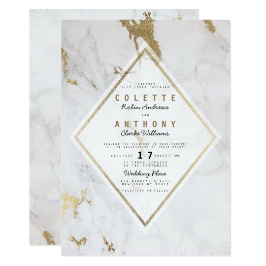 Elegant luxury faux gold grey white marble wedding