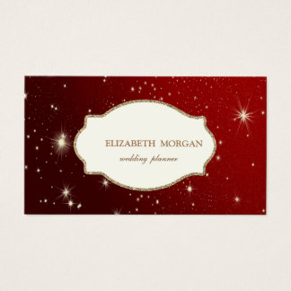 Elegant Luxury Glitter  Gold Frame,Red ,Sparkle Business Card