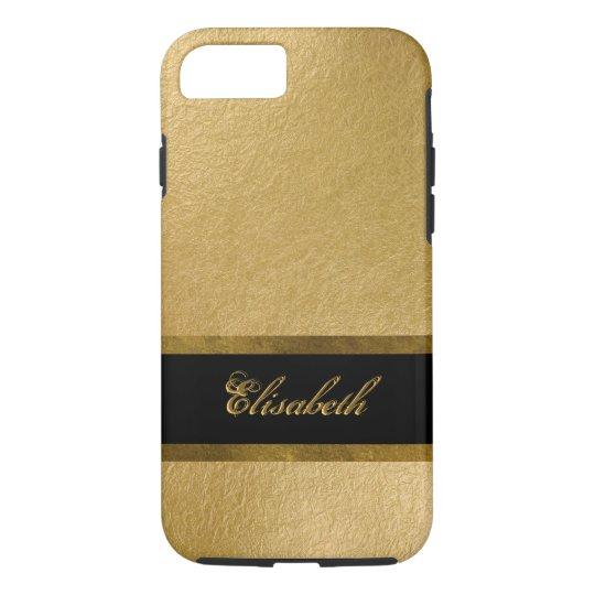 Elegant Luxury Gold Leaf 3D Custom Monogram iPhone