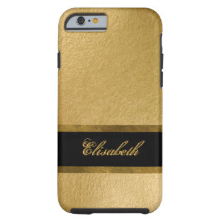 Elegant Luxury Gold Leaf 3D Custom Monogram Tough iPhone 6 Case