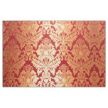 Elegant Luxury Retro Red Gold Damask Pattern Fabric