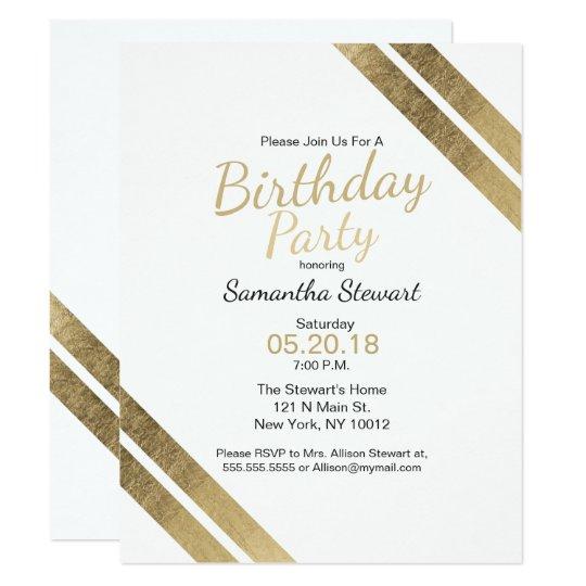 Elegant luxury white faux gold Birthday Party Card