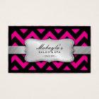 Elegant Magenta Pink and Black Chevron Pattern Business Card