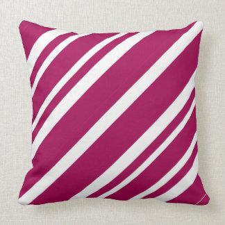 Elegant Magenta White Stripes Throw Pillow