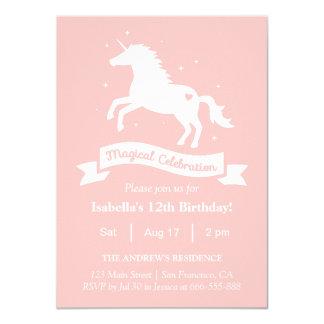 Elegant Magical Unicorn Girls Birthday Party Card
