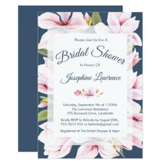 Elegant Magnolia Floral Bridal Shower Invitations