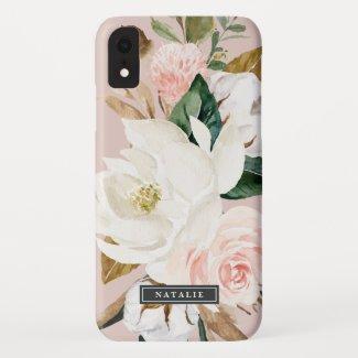 Elegant Magnolia   White & Blush Personalised Name Case-Mate iPhone Case