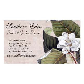Elegant Magnolia with Vintage Textures Background Business Card Template