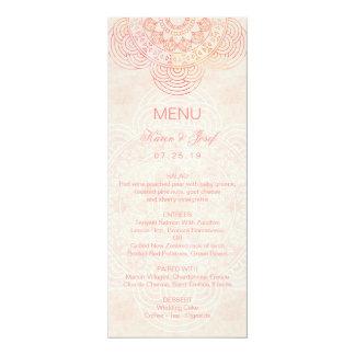 Elegant Mandala Chic Boho Wedding Menu 10 Cm X 24 Cm Invitation Card