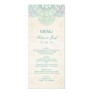 Elegant Mandala Teal Garden Wedding Menu 10 Cm X 24 Cm Invitation Card