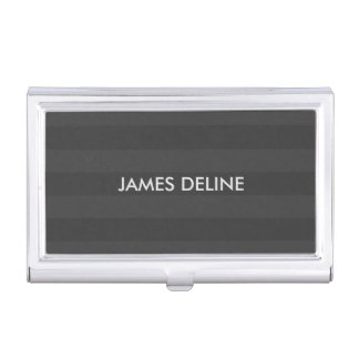 Elegant Manly Dark Grey Stripes Business Card Holder