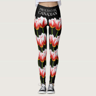 Elegant Maple Leaf Tulips Leggings