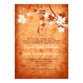 Elegant maple leaves orange fall wedding card