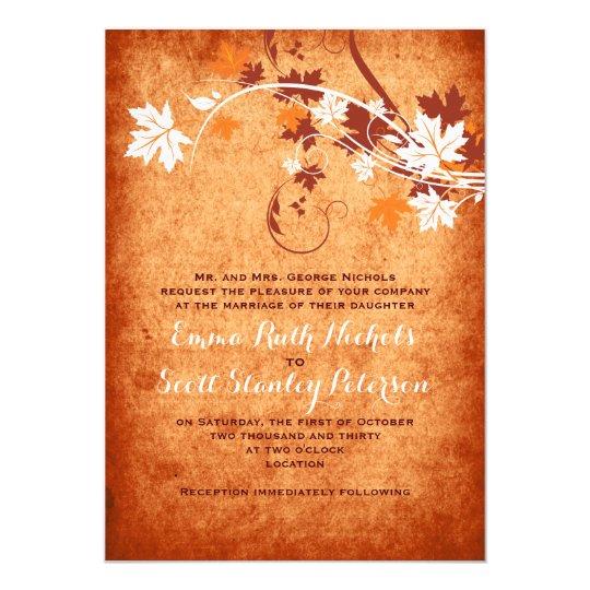 Elegant maple leaves orange fall wedding card