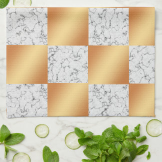 Elegant Marble and Copper Foil Checkered Tea Towel