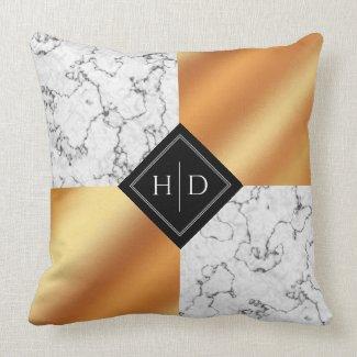 Elegant Marble and Copper Foil Wedding Keepsake Cushion