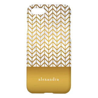 Elegant Marble and Gold Chevron Pattern iPhone 8/7 Case
