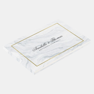 Elegant Marble and Gold Texture Wedding Guest Book