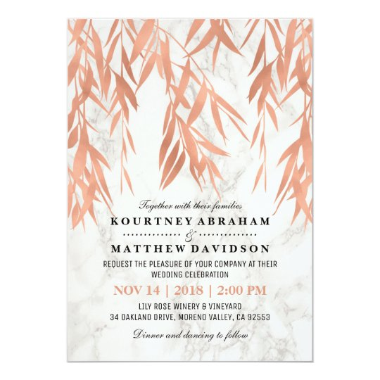Elegant Marble and Rose Gold Wedding Card