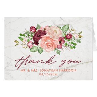 Elegant Marble Burgundy Mauve Peach Thank You Card