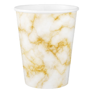 Elegant Marble - Gold White Paper Cup