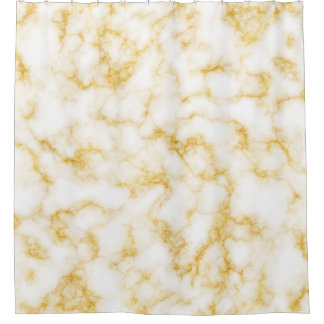 Elegant Marble - Gold White Shower Curtain