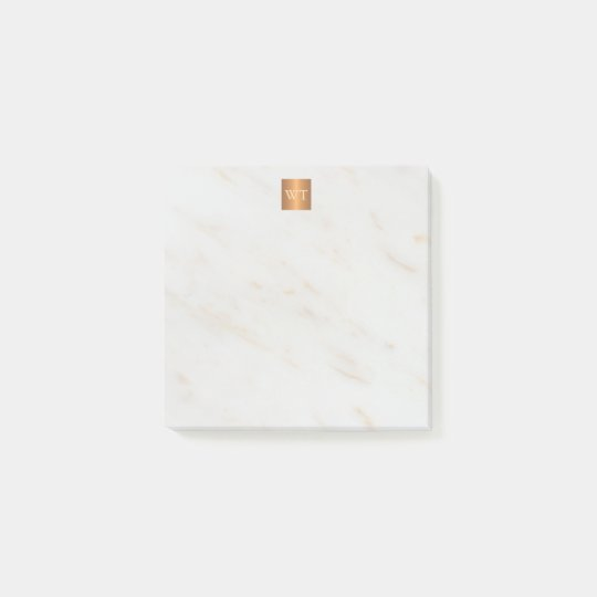 Elegant marble metallic copper square monogram post-it notes