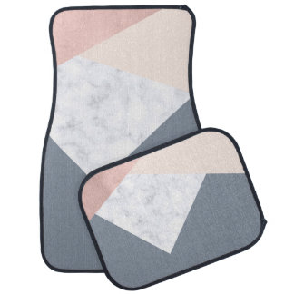 elegant marble rose gold grey beige geometric car mat