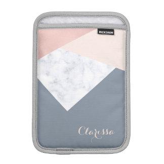 elegant marble rose gold grey beige geometric iPad mini sleeve