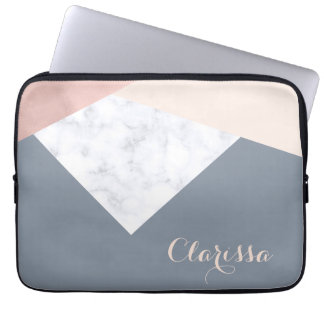 elegant marble rose gold grey beige geometric laptop sleeve