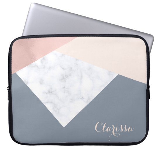 elegant marble rose gold grey beige geometric laptop