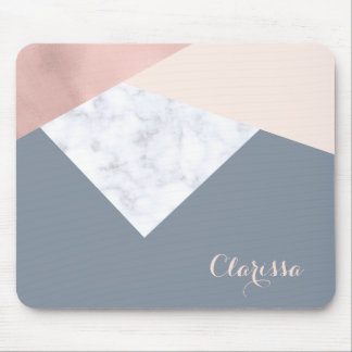 elegant marble rose gold grey beige geometric mouse mat