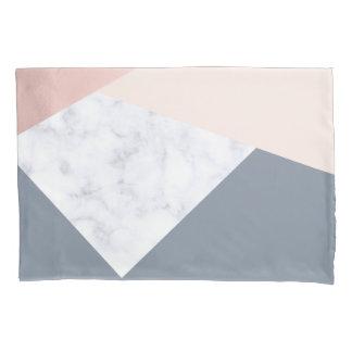 elegant marble rose gold grey beige geometric pillowcase