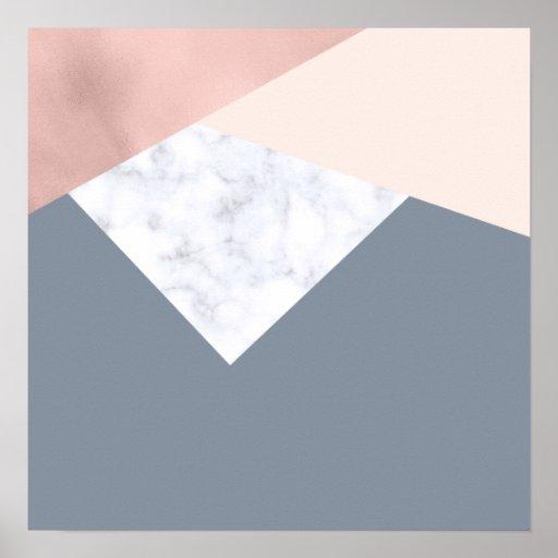 elegant marble rose gold grey beige geometric poster