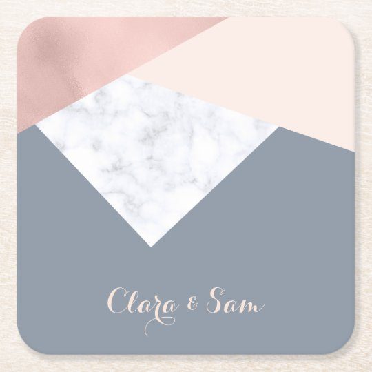 elegant marble rose gold grey beige geometric square