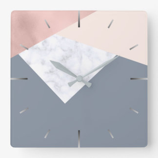 elegant marble rose gold grey beige geometric square wall clock