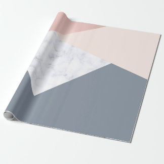 elegant marble rose gold grey beige geometric wrapping paper